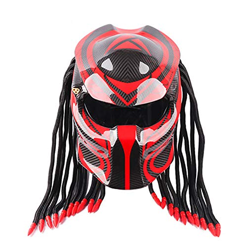 DYM258 Motorcycle Jagged Warrior Predator Helmet Front Flip Open D.O.T Certified Motorbike Riding Harley Retro Scorpion Mask Cross-Country with Braid and LED Light,Black Red,M57~58CM