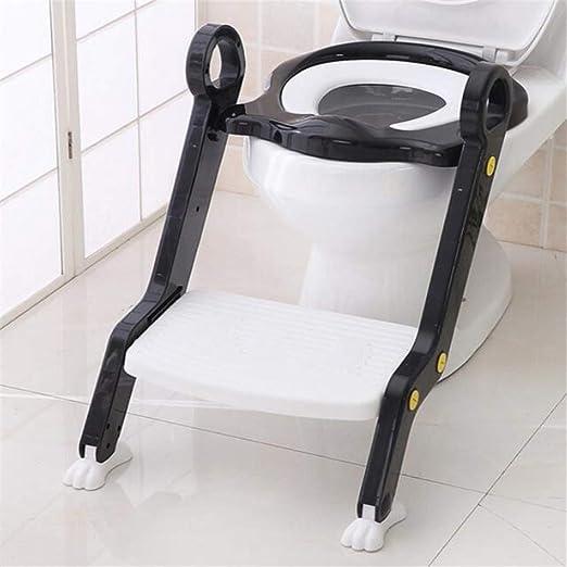 YICIX Reductor WC Silla para Escalera de Inodoro para bebé Asiento Orinal Step Up Entrenamiento para Inodoro para niños pequeños Taburete para niñas y niños,Black: Amazon.es: Hogar