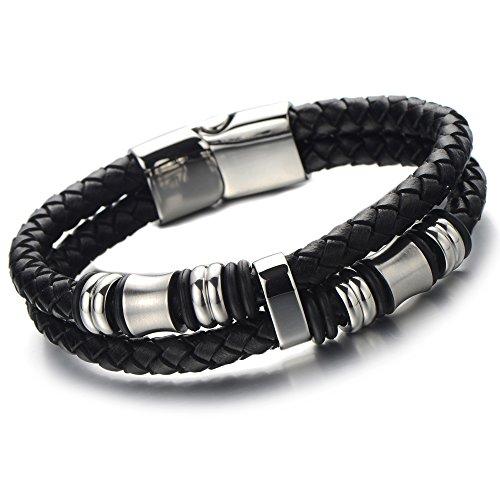Braided Leather Bracelet Genuine Wristband