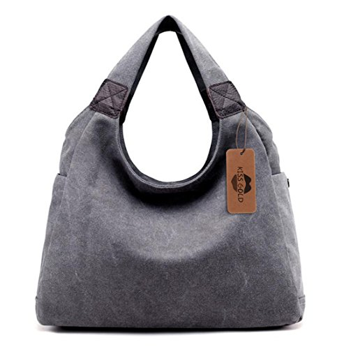 KISS GOLD(TM) Simple Style Canvas Tote Hobo Bag Shopper Handbag For Womens, Model B-Grey -