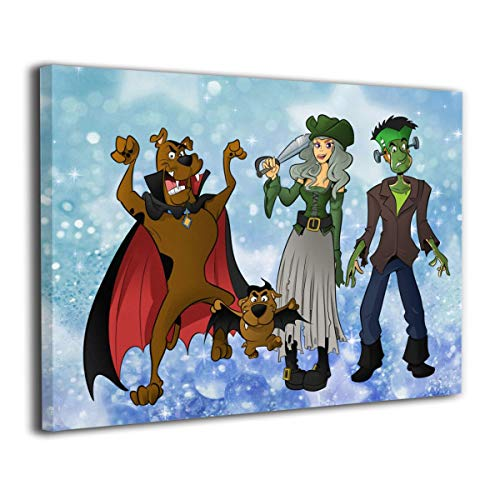 (MyLoire Halloween Scooby-doo Canvas Print Wall Art Modern Home Decorations for Bedroom Laundry Room Stretched and Framed 20 X 16)