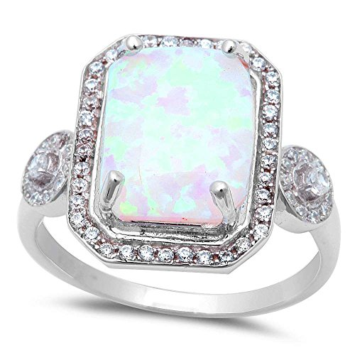 Large Radiant Cut Lab Created White Fire Opal & Cubic Zirconia .925 Sterling Silver Ring Sizes 6