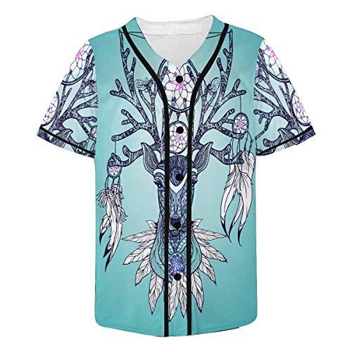 (InterestPrint Men's Indian Deer Head Tribal Baseball Jersey Button Down T Shirts Plain Short Sleeve S)