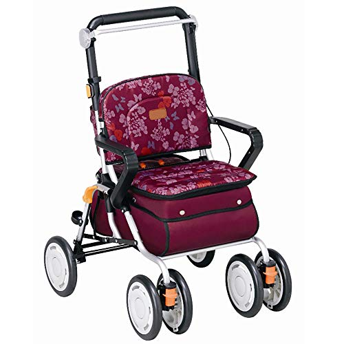 DWhui Folding Shopping Cart Seat Four-Wheeled Trolley Rotate Walker Old Man Trolleys Multifunctional Leisure Shopping Trolley