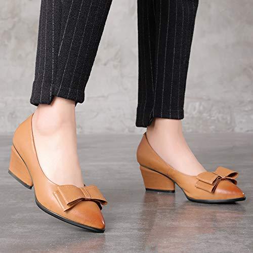 Marron Cuir Zhrui Sur Eu Bloc Bout 37 Taille Femmes Chaussures Patin Pointu En Marie Les Marron coloré YagrYq