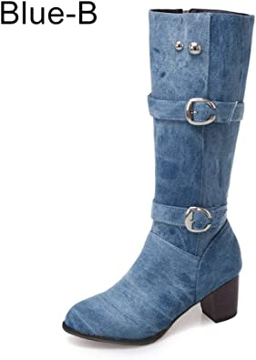 JOYBI Women Round Toe Over Knee High Boots Fashion Buckle Fur Lined Waterproof Slip-On Ladies Riding Boot