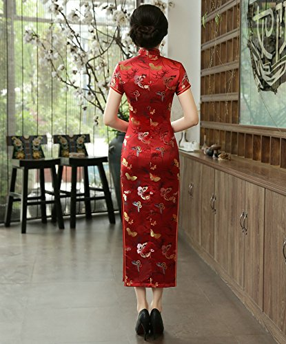 ACVIP Women's Butterfly Brocade Short Chinese Traditional Cheongsam Long Dress (US 4/Chinese L, Red) by ACVIP (Image #3)