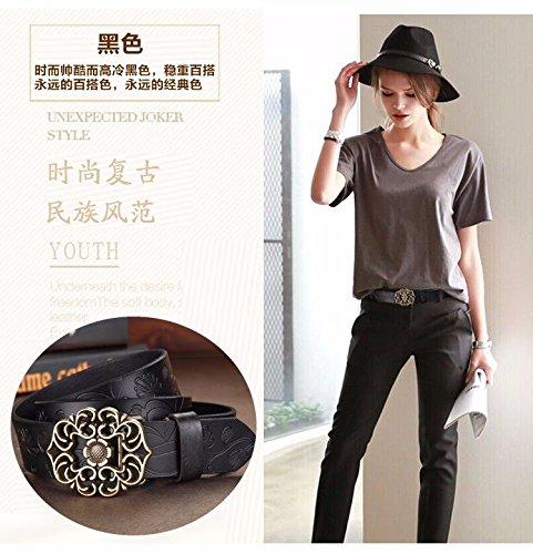 Ancho De Vaca Cuero Moda Zhangyong Amarillo Marron Cinturón Jeans Moda Retro Cuero Ahuecado Y BC0TqA