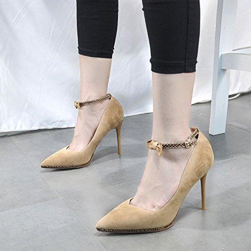 Pointy con Tacon Baotou albaricoque Suede De Un Par ZHANGJIA De Hollow De Y Arco Sandalias Alto Un Zapatos color U8Eqw