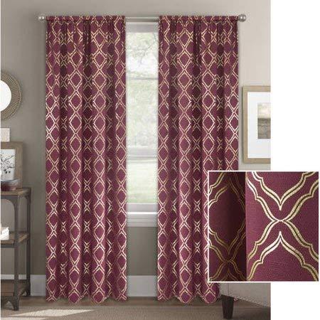 metallic foil trellis curtain panel