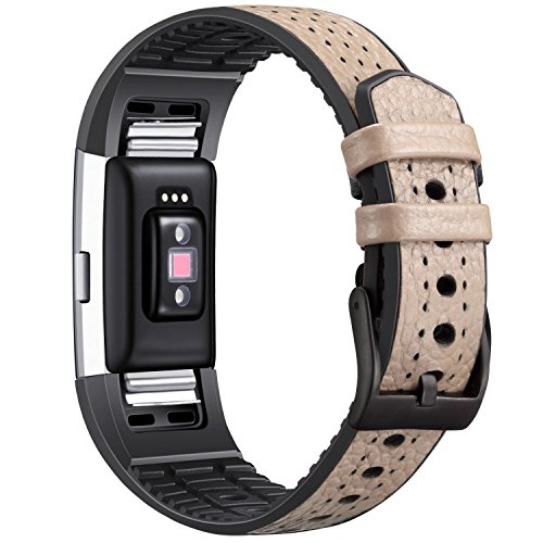 Dizywiee for Fitbit Charge 2 Bands, Genuine Leather Replacement Band Accessories for Fitbit Charge 2 Fitness Strap , Leather&TPU Breathable Wristbands
