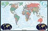 48x70 World Decorator Wall Map Mural Laminated