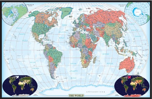 Swiftmaps World Decorator Wall Map Poster (24x36 Paper Rolled) (Decorator World Map)