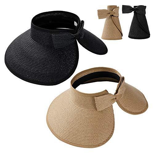 Summer Straw Beach Sun Visor Ponytail Hats for Women Foldable Floppy (Straw-Kd-2 Pack-Khiki/Black)