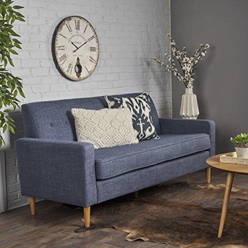 Christopher Knight Home Stratford Mid Century Modern Dark Blue Fabric 3 Seater Sofa