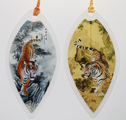 (Lucore Tiger Painting Leaf Bookmarks -Made of Real Leaves - 2 Pcs Lucky Charm, Ornament, Hanging & Wall Decor, Art Decoration)