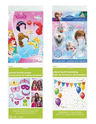 Princess Photo Booth Props, 26 PC Bundle Set, With Backdrop for DIY Princess Themed Party -