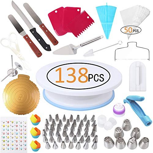 138 Pcs Cake Decorating Supplies Kit, Inkec Baking Supply with Cake Turntable, Icing Tips, Couplers, Piping Bags, Silicone Cupcake & Item Bonus for Birthday Wedding Cake -
