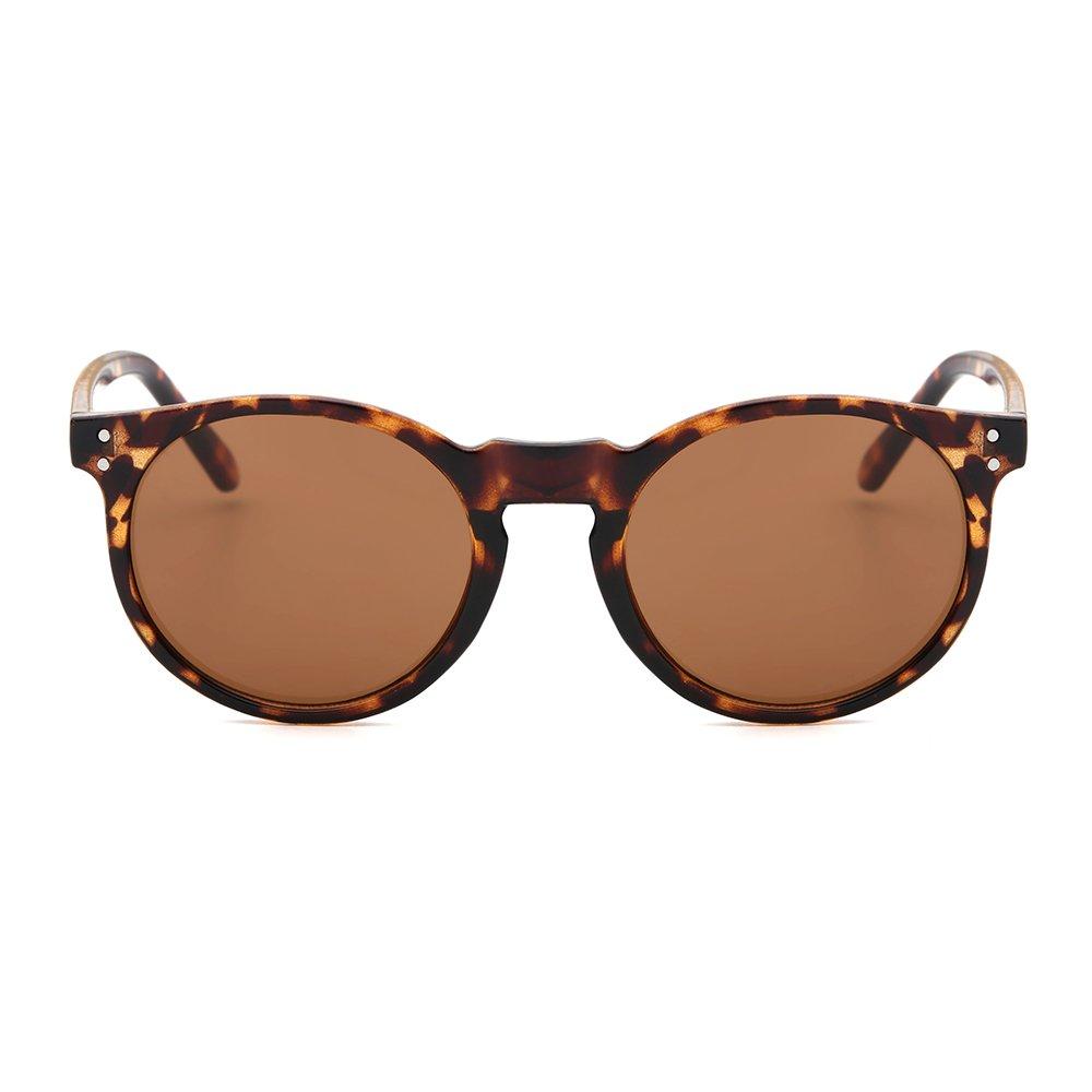 Suertree Redondo Espejo Espejo Gafas de Sol Mujeres Hombres Vendimia Sombras Moda Retro Gafas UV400 JH9003 azul