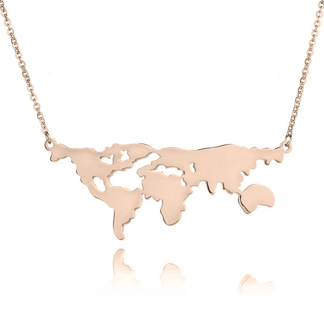 WUSUANED Stainless Steel World Map Necklace World Continents Jewelry Travel Gift for Women Men (world map necklace rose gold)