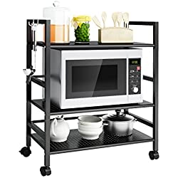 LANGRIA Industrial All-Purpose 3 Tier Wire Mesh Rolling Cart with Leveling Feet to Convert the Wheeled Cart into Static Rack for Home Office Organization Kitchen Bathroom Cart Max Load 66 lbs. (Black)
