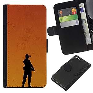 KLONGSHOP // Tirón de la caja Cartera de cuero con ranuras para tarjetas - Puesta de sol Soldado - Apple Iphone 5C //
