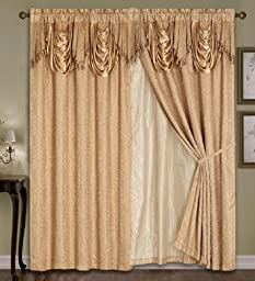 Luxury Dallas Jacquard Panel with attached valance 120\