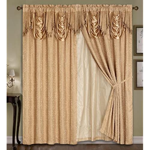 living room curtains with valance. Luxury Dallas Jacquard Panel with attached valance 120  x 84 18 Living Room Curtains Valance Amazon com