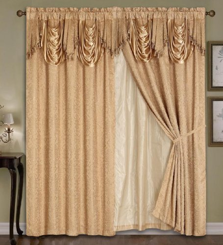Luxury Dallas Jacquard Panel with attached valance 120″ x 84″ + 18″
