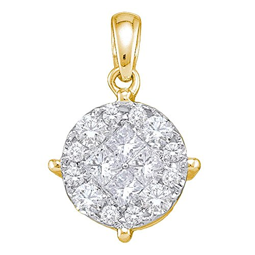 Roy Rose Jewelry 14K Yellow Gold Womens Princess Diamond Soleil Cluster Pendant 1/4 Carat tw (Pendant Setting Invisible Diamond Rose)
