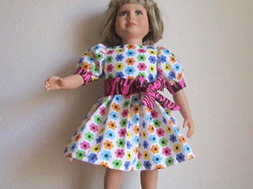 Bright & Colorful Flower Seersucker Dress + Tie Belt fits My (My Twinn Doll Shoes)