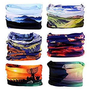 Zupoo 6PCS 16-in-1Multifunctional Headband Sports Magic Scarf,Face Sun Mask,Neck Gaiter,Balaclava Headwear,Bandana,for Hiking, Running,Cycling,Yoga,Fishing,Hunting,Skiing & Snowboarding