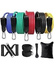 Ozvavzk Weerstandsbanden 100lbs Weerstandsbandenset-Fitness Spiervergrotende Elastiekjes met 5 Fitnessbanden,Handgrepen, Voetriemen,Deurankers,Draagtassen-ideaal voor yoga Pilates krachttraining