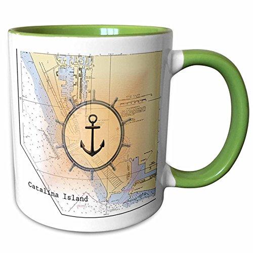 3dRose Florene - Nautical Map Décor - Print of Catalina Island California Chart With Anchor - 11oz Two-Tone Green Mug (mug_204860_7) - Catalina Coffee Mug