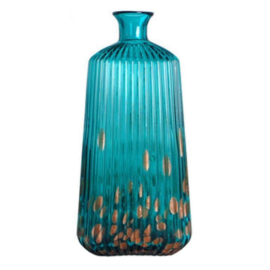 シックな花瓶 ガラス花瓶、手作りのモダンデコレーション花瓶パーソナライズされた花瓶母の日結婚式記念日誕生日プレゼント、アメリカンモダンホーム、色:青、サイズ:20 * 7 * 38 cm 写真シックな花瓶シリンダー花瓶、装飾用花瓶 B07S9ZPLJ7