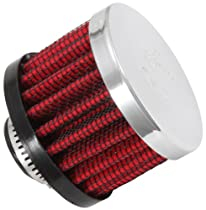 K&N 62-1330 Vent Air Filter / Breather: Vent Air Filter/ Breather; 0.5 in (13 mm) Flange ID; 1.5 in (38 mm) Height; 2 in (51 mm) Base; 2 in (51 mm) Top