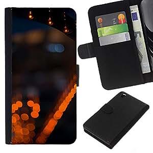 WINCASE Cuadro Funda Voltear Cuero Ranura Tarjetas TPU Carcasas Protectora Cover Case Para HTC DESIRE 816 - luces de la ciudad la noche borrosa borrosa