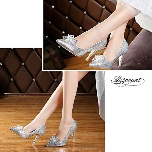 Cendrillon Cristal Banquet Toe 9cm Talons Chaussures Soirée Mariage Bride Yudesun Femmes Argent Strass Mode Hauts Stiletto qSXpYw