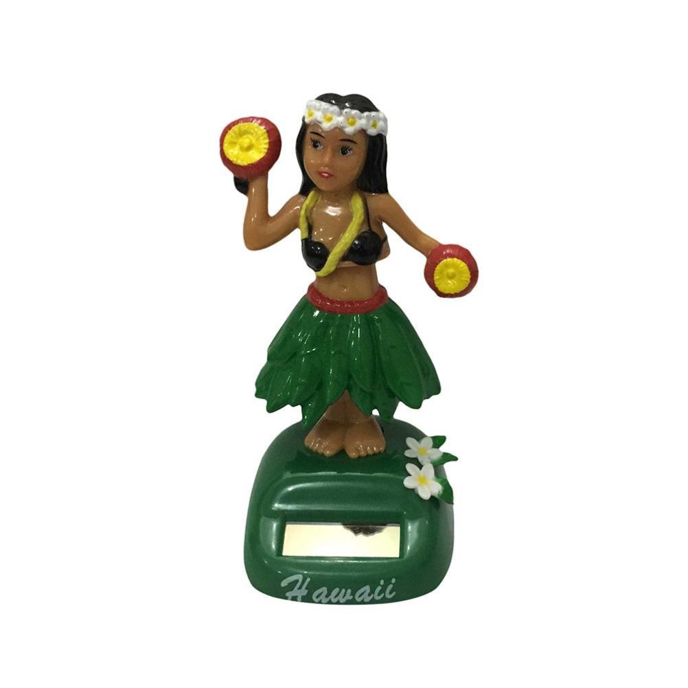 Iuhan Hawaii Girl Car Solar Powered Dancing Animal Swinging Animated Bobble Dancer Car (F)