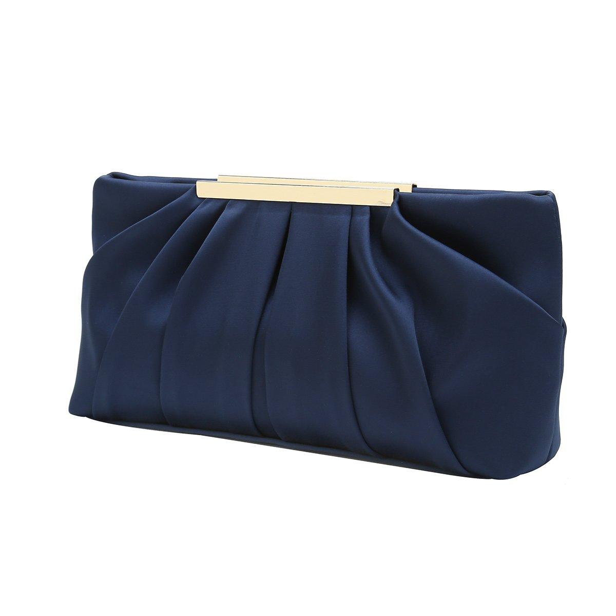 Charming Tailor Clutch Evening Bag Elegant Pleated Satin Formal Handbag Simple Classy Purse for Women (Navy)