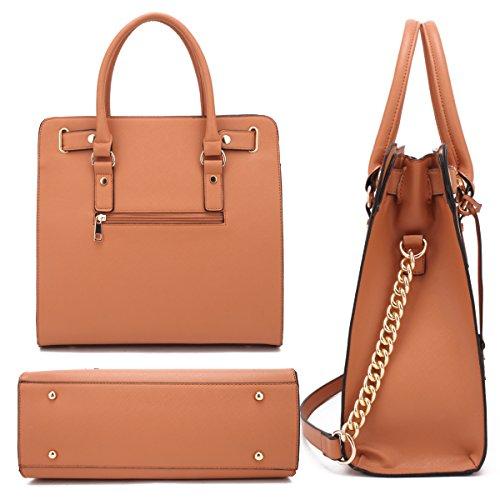Bag Handbag Structured Fashion Padlock brown Top Designer Satchel Shoulder Womens Belted 2553w w1F467qq
