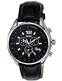 INWET Classic Men's Quartz Watch,Black Dial with Date Calendar,Leather Strap