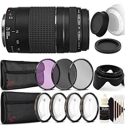 Canon EF 75-300mm f/4-5.6 III Lens + 58mm Filter Kit + Macro Kit + Tulip Lens Hood + Rear & Front Cap + 3pc Cleaning Kit
