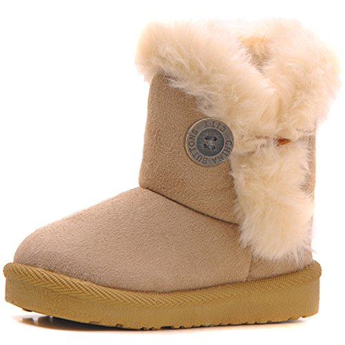 IOO Baby Girls Boys Plush-Filled Bailey Button Snow Boots Warm Winter Flat Shoes Beige 24