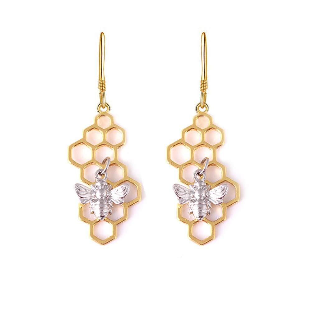 BELUCKIN Honeycomb with Bee Dangle Earrings Gold Silver Beehive and Bee Earrings for Women Girls