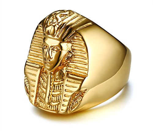 XUANPAI Men's Ancient 18k Gold Plated Stainless Steel Egyptian Akhnaton Pharaoh King TUT Mummy Ring,Size 9 (Egyptian Ring)