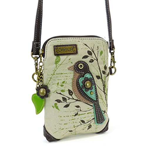 Chala Crossbody Cell Phone Purse  Women Canvas Multicolor Handbag with Adjustable Strap Bird  Safari Sand