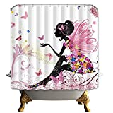 LZHsunni88 Pink Butterfly Girl with Floral Dress Flower Design Fairy Angel Wings Face Home Accent Soft Colors Modern Designer Feminine Decor Dreamy Folklore Shower Curtain (180CMx180CM, Multi 7)