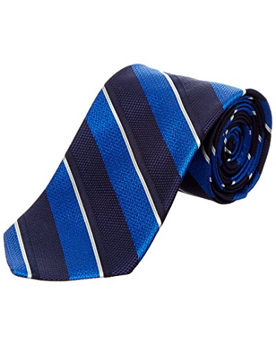 Brooks Brothers Mens Blue Mixed Weave Stripe Silk Tie Brooks Brothers Silk Necktie