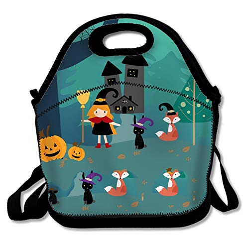 Halloween Season And Cute Happy Lunch Bag Kids Lunch Box Food Storage Cooler - Great Gift for Boys, Girls ()